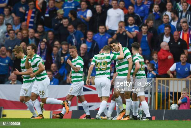 Belfast United Kingdom 14 July 2017 Tom Rogic of Celtic celebrates after scoring his side's second goal with James Forrest during the UEFA Champions...