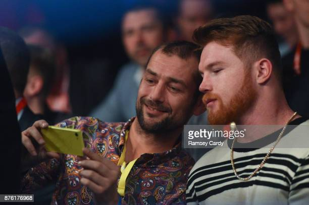 Belfast United Kingdom 18 November 2017 Boxer Saúl 'Canelo' Álvarez has his photograph taken with a supporter at the SSE Arena in Belfast