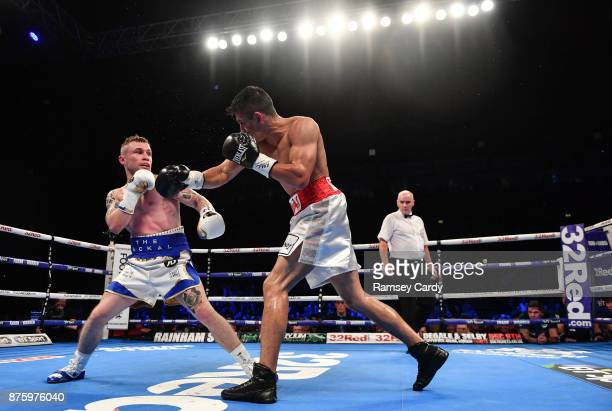 Belfast United Kingdom 18 November 2017 Carl Frampton left in action against Horacio Garcia during their featherweight bout at the SSE Arena in...