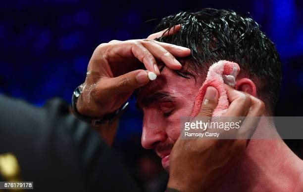 Belfast United Kingdom 18 November 2017 Jamie Conlan following his defeat to Jerwin Ancajas in their IBF World super flyweight Title bout at the SSE...