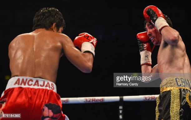 Belfast United Kingdom 18 November 2017 Jamie Conlan in action against Jerwin Ancajas during their IBF World super flyweight Title bout at the SSE...