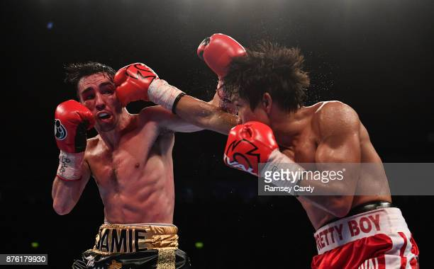 Belfast United Kingdom 18 November 2017 Jamie Conlan left in action against Jerwin Ancajas during their IBF World super flyweight Title bout at the...