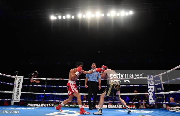 Belfast United Kingdom 18 November 2017 Jamie Conlan right in action against Jerwin Ancajas during their IBF World super flyweight Title bout at the...