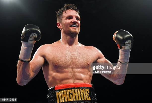 Belfast United Kingdom 21 October 2017 Anthony Fowler celebrates following his SuperWelterweight bout against Laszlo Fazekas at the SSE Arena in...