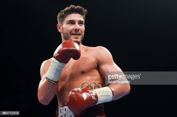 Belfast United Kingdom 21 October 2017 Josh Kelly celebrates following his Welterweight bout with Jose Luis Zuniga at the SSE Arena in Belfast