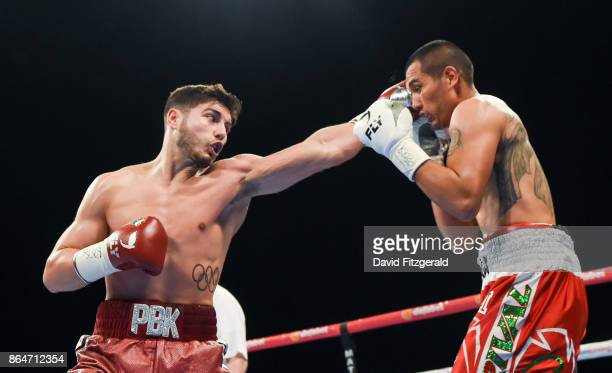 Belfast United Kingdom 21 October 2017 Josh Kelly left exchanges punches with Jose Luis Zuniga during their Welterweight bout at the SSE Arena in...