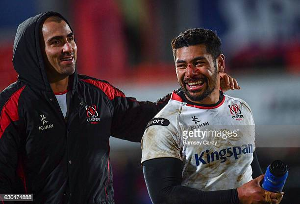 Belfast United Kingdom 23 December 2016 Ulster's Charles Piutau right and Ruan Pienaar following their victory in the Guinness PRO12 Round 11 match...