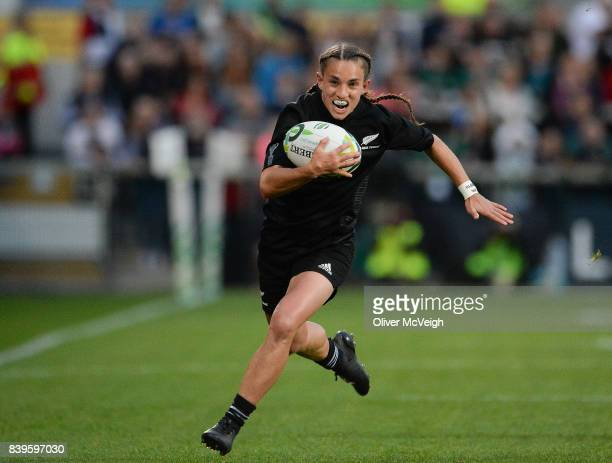 Belfast United Kingdom 26 August 2017 Selica Winiata of New Zealand running in to score her side's first try during the 2017 Women's Rugby World Cup...