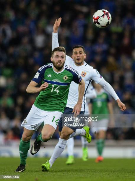 Belfast United Kingdom 26 March 2017 Stuart Dallas of Northern Ireland in action against Omar Elabdellaou of Norway during the FIFA World Cup...