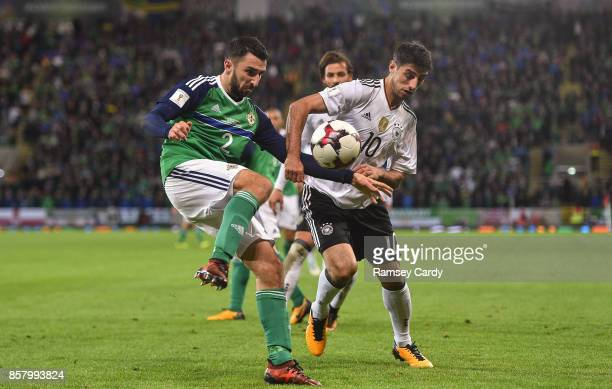 Belfast United Kingdom 5 October 2017 Conor McLaughlin of Northern Ireland in action against Lars Stindl of Germany during the FIFA World Cup...