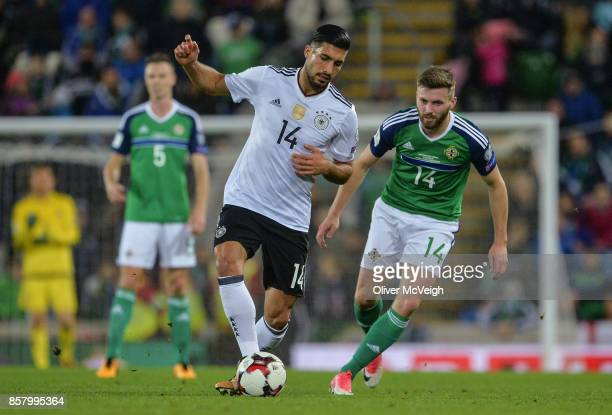 Belfast United Kingdom 5 October 2017 Emre Can of Germany in action against Stuart Dallas of Northern Ireland during the FIFA World Cup Qualifier...