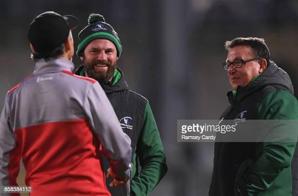 Belfast United Kingdom 6 October 2017 Connacht assistant coach Nigel Carolan left and head coach Kieran Keane in conversation with Ulster Director of...