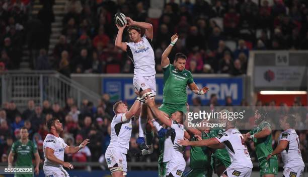 Belfast United Kingdom 6 October 2017 Iain Henderson of Ulster wins possession from a lineout during the PRO14 Round 6 match between Ulster and...