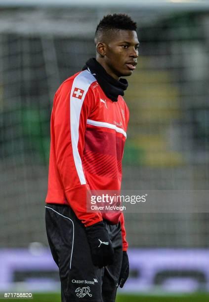 Belfast United Kingdom 8 November 2017 Breel Embolo during Switzerland squad training at Windsor Park in Belfast