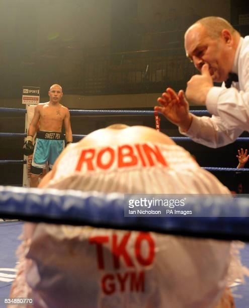 Belfast's Kevin O'Hara waits as referee Ritchie Davies counts Crawley's Robin Deakin at Bethnal Green's York Hall Kevin O'Hara won the bout after the...