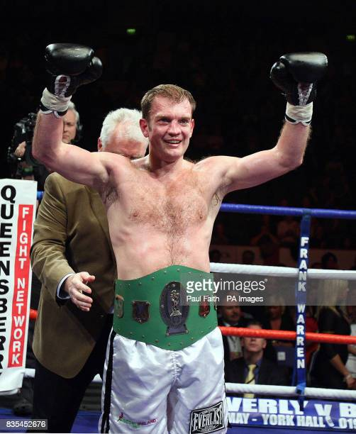 Belfast's Neil Sinclair celebrates his victory over Co Mayo's Henry Coyle during the AllIreland Light Middleweight Championship bout at the Odyssey...