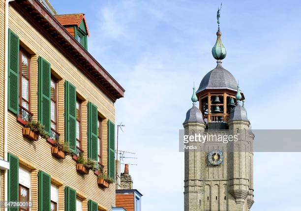 Belfry in Bergues monument listed as a UNESCO World Heritage Site and buildinds in the town centre