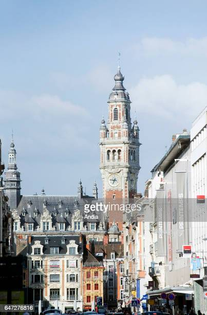 Belfry of the Chamber of Commerce viewed from the street 'rue Nationale' in Lille