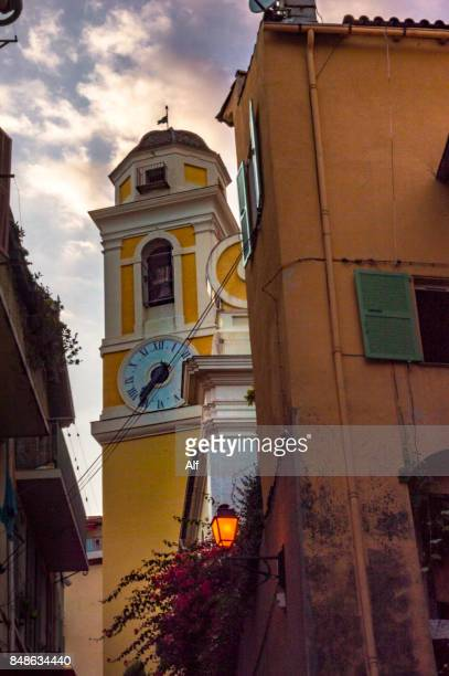 Belfry of the Church of St Michel in  Villefranche-sur-Mer, French Riviera, France