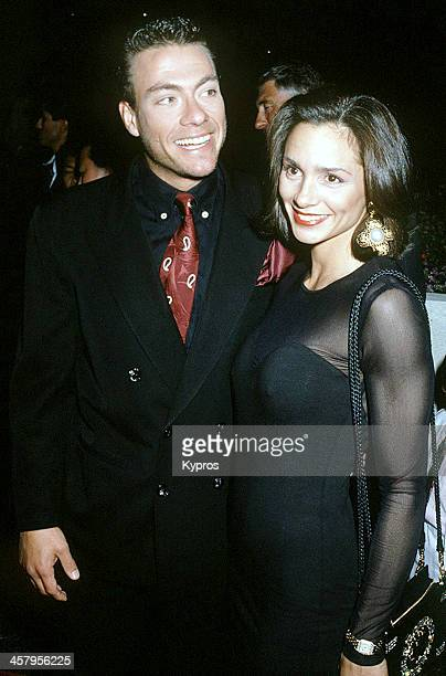 Belgian actor and martial artist JeanClaude Van Damme with his wife actress and bodybuilder Gladys Portugues circa 1992