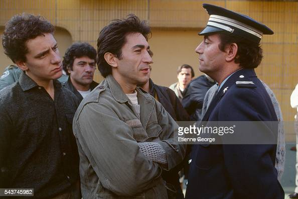 Belgian actor Riton Liebman and French actors Richard Berry and Richard Bohringer on the set of the film 'L'Addition' by French director Denis Amar...