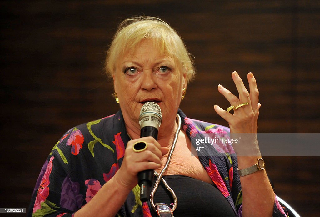 Belgian actor Viviane De Muynck speaks during a press conference at the National Theater Concert Hall (NTCH) in Taipei on October 8, 2013 as Needcompany will perform theatre work 'Isabella's Room' between October 11 to 13, 2013. The NTCH organized the 2013 World View Series 'Belgium' is launched between September 26 to December 8. AFP PHOTO / Mandy CHENG