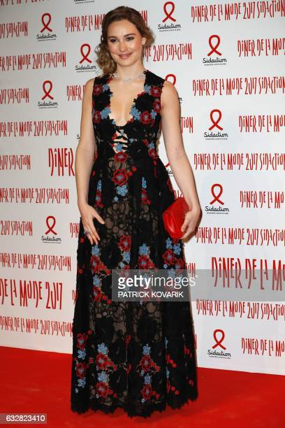 Belgian actress Deborah Francois poses during a photocall upon arriving to attend the Diner de la Mode fundraiser dinner in profit of French antiAIDS...