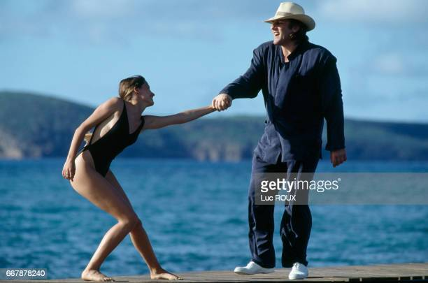 Belgian actress Marie Gillain and French actor Gerard Depardieu on the set of the film Mon pere ce heros written and directed by Gerard Lauzier