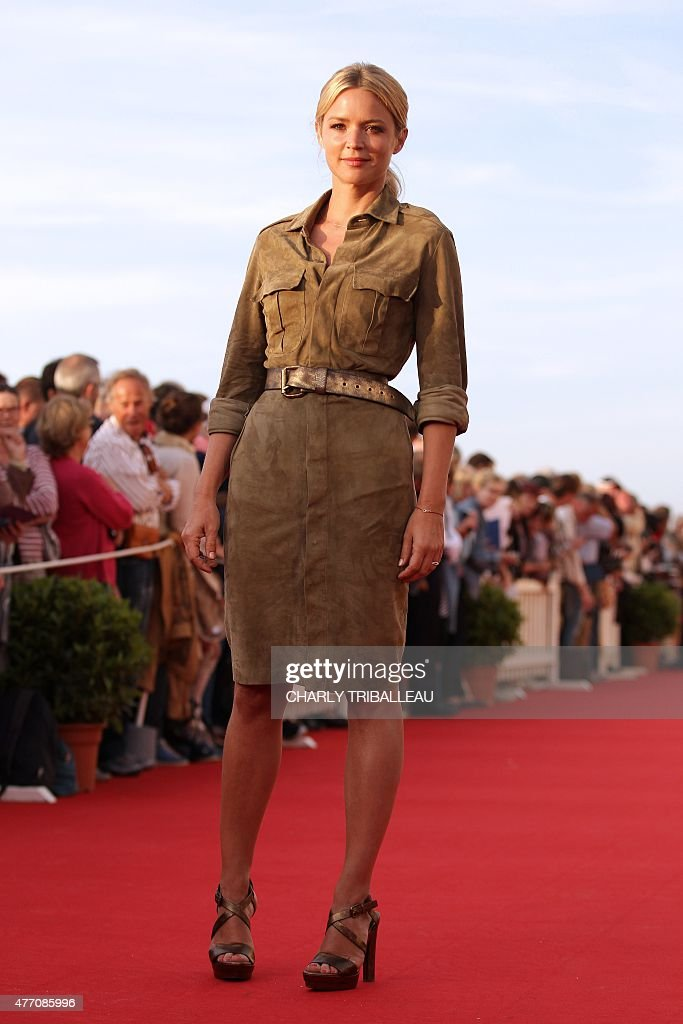 Belgian actress Virginie Efira poses on the red carpet on June 13 2015 during the Cabourg Romantic Film Festival in Cabourg northwestern France AFP...