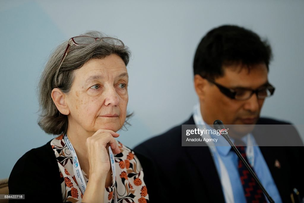 Belgian Ambassador to United Nations Benedicte Frankinet (L), attends a Civil Society Forum within Midterm Review of the Istanbul Programme of Action at the Titanic Hotel in Antalya, Turkey on May 26, 2016. The Midterm Review conference for the Istanbul Programme of Action for the Least Developed Countries will take place in Antalya, Turkey from 27-29 May 2016. The conference will undertake a comprehensive review of the implementation of the Istanbul Programme of Action by the least developed countries (LDCs) and their development partners and likewise reaffirm the global commitment to address the special needs of the LDCs.