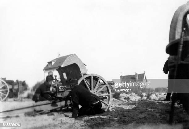 Belgian artillery in sand dunes in La Panne Belgium
