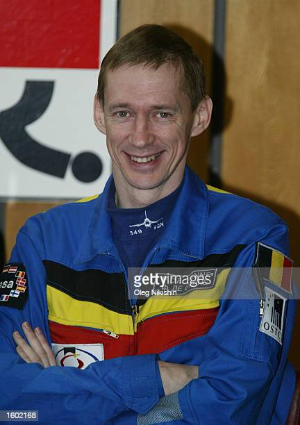 Belgian astronaut Frank de Winne poses at a news conference November 11 2002 in Star City Russia A Russian space capsule carrying two cosmonauts and...