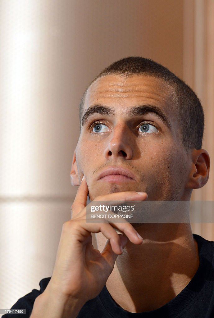 Belgian athlete Kevin Borlee attends a press conference, on September 3, 2013 in Brussels, ahead of the Belgacom Memorial Van Damme athletics meeting on September 6. AFP PHOTO / BELGA / BENOIT DOPPAGNE