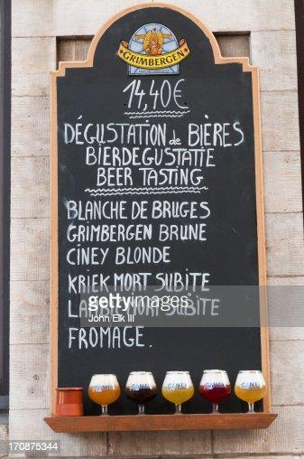 Belgian beer menu