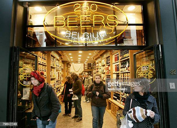 Belgian beer shop is seen near la Grande Place on February 19 2008 in Brussels Belgium