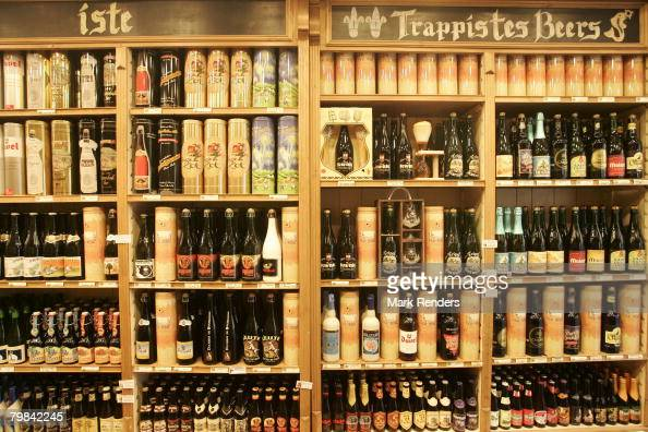 Belgian beers are seen at a beer shop near la Grande Place on February 19 2008 in Brussels Belgium