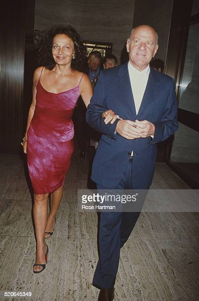 Belgian born American fashion designer Diane von Fürstenberg with her husband American businessman Barry Diller at a CFDA party held at the Four...