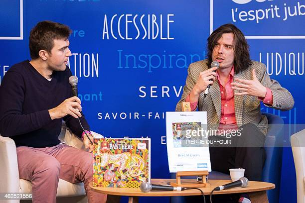 Belgian cartoonist Bercht Evens talks during a presentation of his comic book 'Panthere' during the 42nd Angouleme International Comics Festival on...