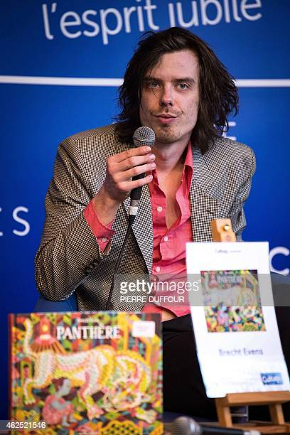 Belgian cartoonist Bercht Evens talks during the 42nd Angouleme International Comics Festival on Friday 30 2015 in Angouleme central France The...