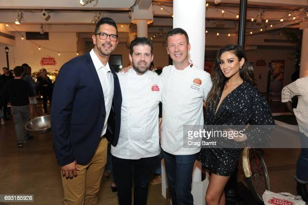 Belgian Chef Bart Vandaele Shay Mitchel and Harry Lewis Vice President Stella Artois 'Host One to Remember' this summer at the Stella Artois Braderie...