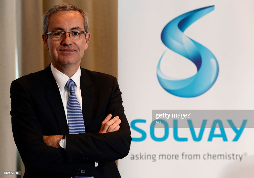Belgian chemical giants Solvay CEO Jean-Pierre Clamadieu gives ng a press conference on January 16, 2013 in Brussels. Solvay today presented the new structure for its business activities and leadership team. AFP PHOTO / BELGA - DIRK WAEM