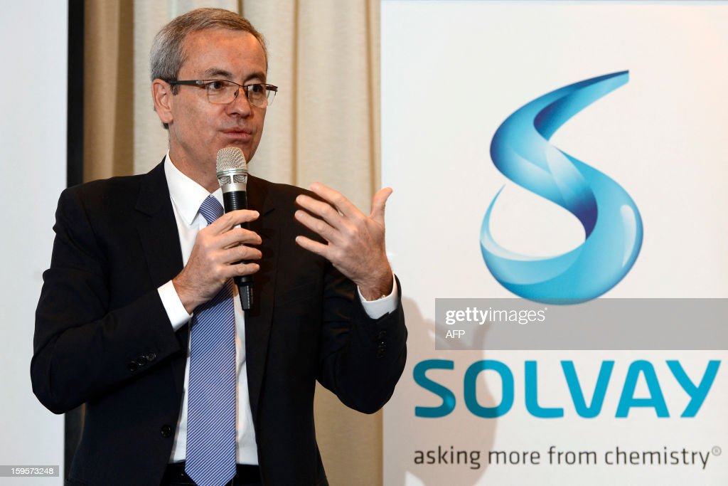Belgian chemical giants Solvay CEO Jean-Pierre Clamadieu gives ng a press conference on January 16, 2013 in Brussels. Solvay today presented the new structure for its business activities and leadership team.