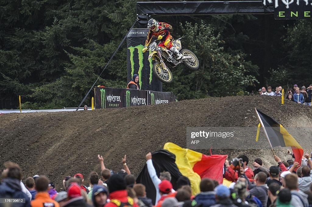 Belgian Clement Desalle rides to win the motocross MX1 Belgian Grand Prix, on August 18, 2013 in Bastogne.
