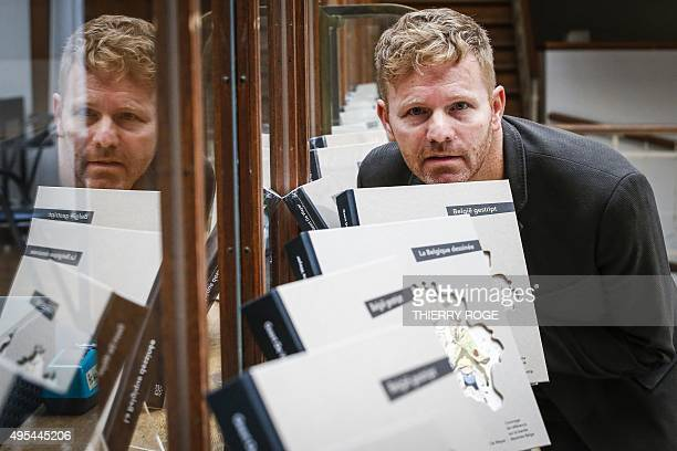 Belgian comic journalist Geert De Weyer poses on November 3 2015 during a special 'wedding event' between Madame Sidonie Tante Sidonia and Philip A...