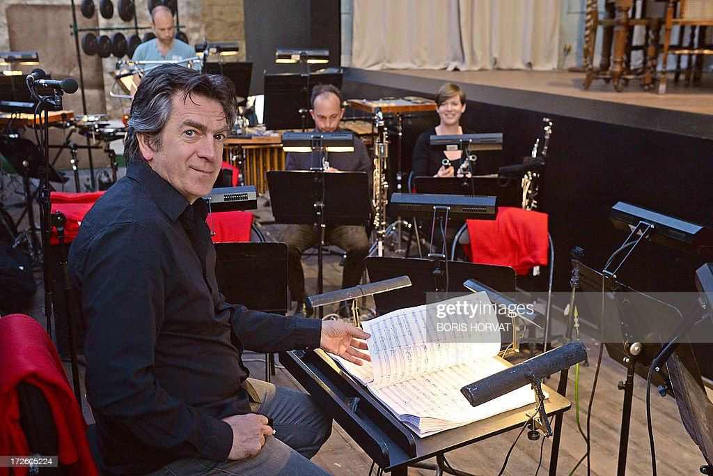 Belgian conductor Etienne Siebens is pictured before the rehearsal of the opera 'The House Taken Over', composed by Portuguese composer Vasco Mendonca and directed by Britain's Katie Mitchell, during the Aix-en-Provence Opera Festival on July 3, 2013 in Aix-en-Provence, southern France.