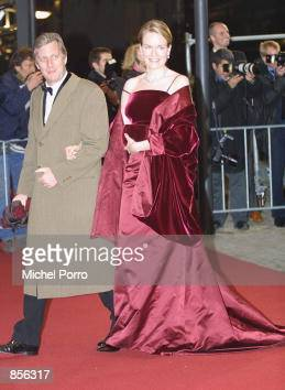 Belgian Crown Prince Philippe and Princess Mathilde arrive at the Royal Palace January 31 2002 in Amsterdam Netherlands for a dinner party hosted by...