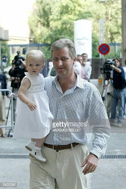 Belgian Crown Prince Philippe arrived with his daughter Princess Elisabeth at Erasmus hospital 20 August 2003 in Anderlecht Brussels Princess...