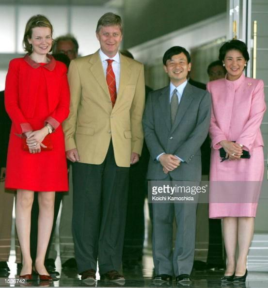 Belgian Crown Princess Mathilde and Prince Philippe greet Japanese Crown Princess Masako and Crown Prince Naruhito at the Tokyo International Airport...