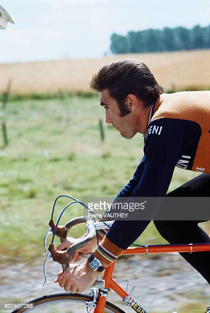 Belgian cycling champion Eddy Merckx bicycling in the 1974 French film La Course en Tete The film was directed by Joel Santoni