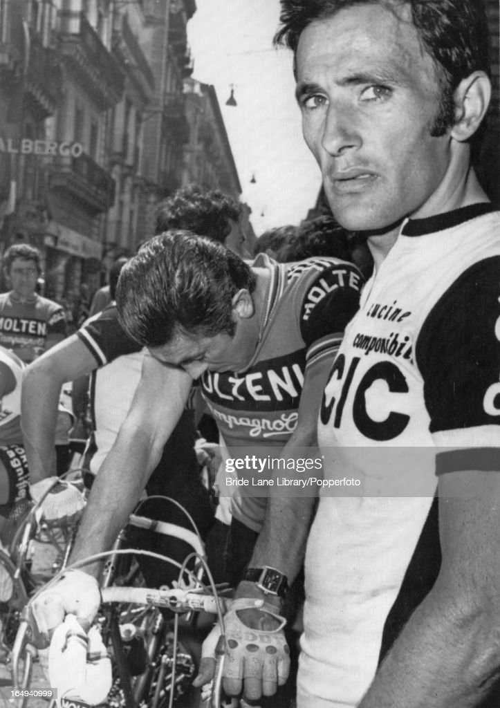 Belgian cyclist <a gi-track='captionPersonalityLinkClicked' href=/galleries/search?phrase=Eddy+Merckx&family=editorial&specificpeople=213957 ng-click='$event.stopPropagation()'>Eddy Merckx</a> and Spanish cyclist Miguel Maria Lasa (right) crying as they arrive in Catania, Sicily during the Tour of Italy (Giro d'Italia), and hear news of the death of fellow-cyclist Juan Manuel Santisteban, 21st May 1976.